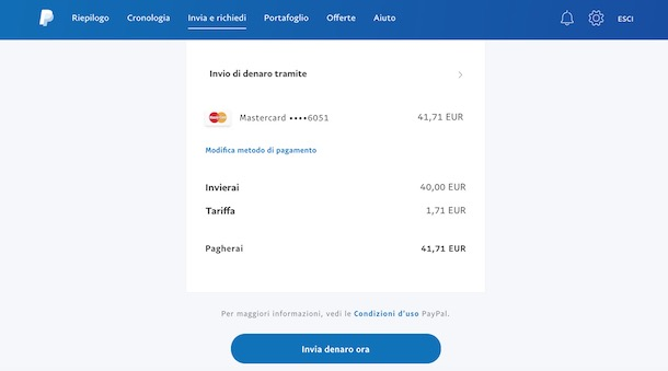 Come inviare soldi a un altro utente PayPal tramite App